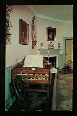 Music postcard Grand Piano at Mount Vernon Virginia VA Music Room chrome