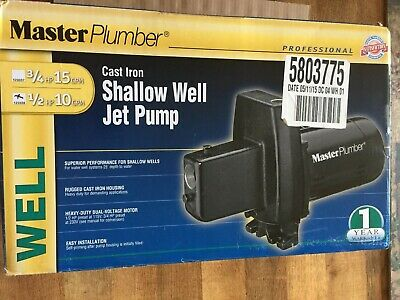 New Master Plumber 1/2 Hp 10 Gpm Shallow Well Jet Pump Cast Iron 123336