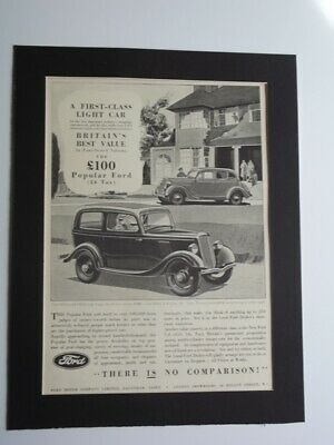 1935 Ford V-8 Magazine Print Advertising - A First Class Light Car