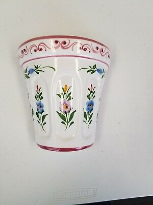 Wall Pocket Ceramic Clay Pottery Floral Flower Pot Planter Hand Painted