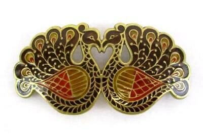 Ornate Brass and Enamel Fall Colors Peacock Belt Buckle Made In India BW-105