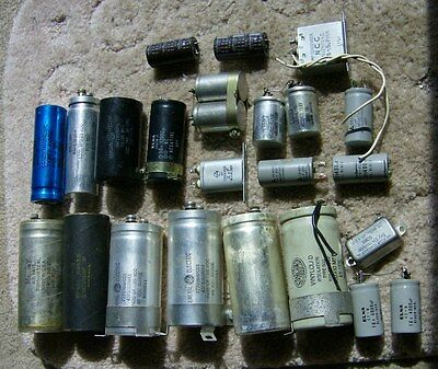 lot of 24 vintage RADIAL & CAN CAPACITORS, Mallory, Sprague, Sangamo, GE, Elna