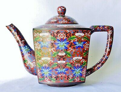 LARGE Antique Chinese Cloisonne Teapot 27cm Bronze Copper Enamel 3.5lbs