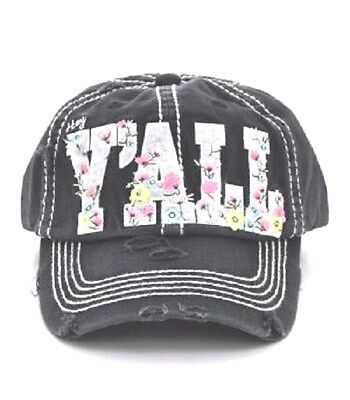 Adjustable Distressed Stop and Smell the Roses Baseball Hat Cap Olive Green