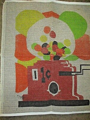 """Gumball Machine Design Rug or Wall Hanging Hook Latch Canvas 29"""" x 25"""""""