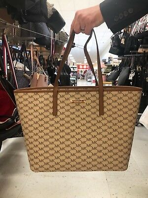 443a4794f7a8 NWT Michael Kors Emry Signature Large Top Zip Tote Carryall Natural Brown