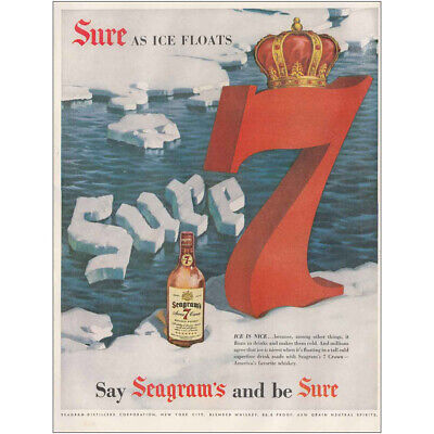 1954 Seagrams 7 Crown Whiskey: Sure As Ice Floats Vintage Print Ad