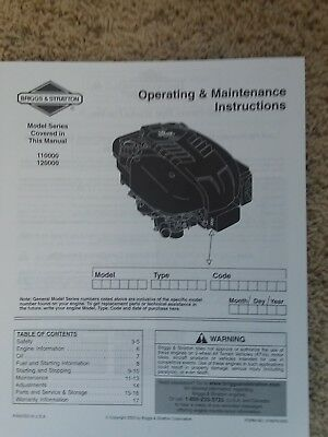 Briggs & Stratton Operating and Maintenance Instructions - 110000   120000