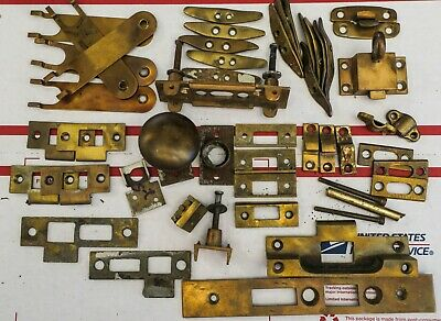 Vintage Solid Brass Levers Handles Cabinet Door Latch Antique Hardware Lot