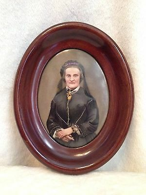 Antique 1800's Victorian Hand Painted Portrait on Porcelain Walnut Wood Frame 9""