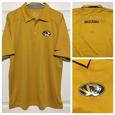 77c880966 Nike Dri Fit Mizzou University Missouri Tigers Gold Black S S Golf Polo  Shirt M