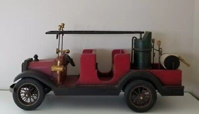 """Large Vintage Antique Wooden Toy Fire Truck Reproduction 29"""""""