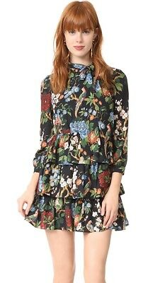 3282773e2a88c Alice + Olivia Breann Chinoiserie Garden Floral Tiered Bow Neck Dress Size  0 NEW