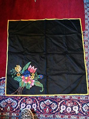 """Vintage HandPainted Black Brushed Cotton Table Topper Tablecloth 30"""" SQ FLOWERS"""