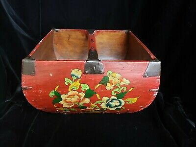 CHINESE RICE OR GRAIN BASKET BUCKET BOX WOOD & IRON Red Floral Design