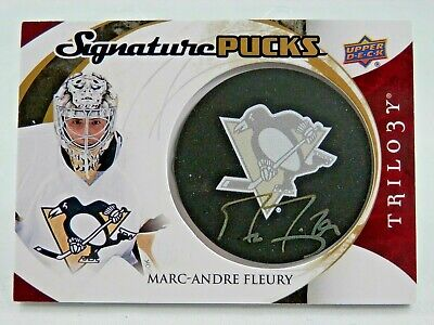 2015-16 Trilogy Marc-Andre Fleury Signature Logo Pucks Pittsburgh Penguins