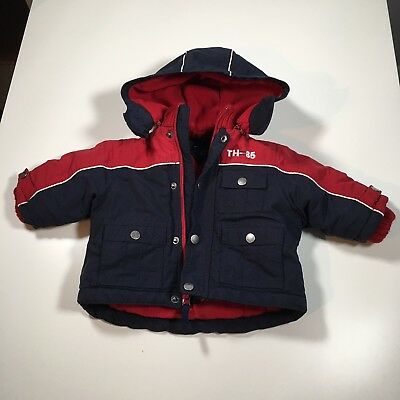 6eb880765 Tommy Hilfiger Puffer Coat Boy's 3-6 Months Full Zip Hooded Navy/Red Jacket