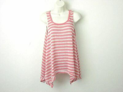 1de649e3f048a T O Sweaters Ladies Tunic Tank Top High Low Striped Pink White Shirt Large