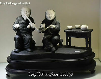 100% Real Natural Dushan Jade Carving Old Man Woman People Wine Tea Pot Statue