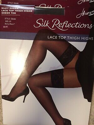 a29b46eee HANES SILK REFLECTIONS Lace Top Thigh-High Barely Black Stockings ...