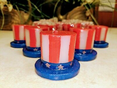 """PATRIOTIC STAR CANDLES Red White Blue /& CANDLES 1"""" X 2.2"""" 3 Ct//Pk"""