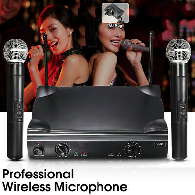 Professional VHF Wireless 2 Channel Handheld Microphone System Cordless Mic KTV