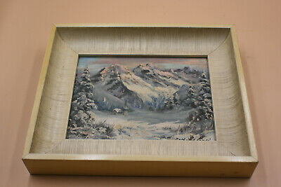 Original Landscape Snow Mountain Oil Painting on Board - Signed - Wooden Framed