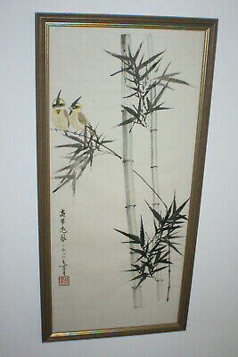 Chinese Bamboo Ink & Watercolour Painting on Rice Paper -Signed Framed