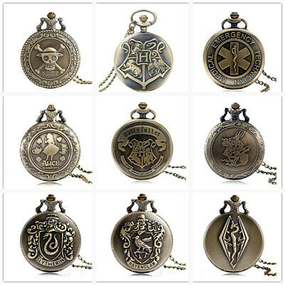 Steampunk Antique Harry Potter Quartz Pocket Watch Retro Pendant Necklace Chain
