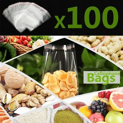 100Pcs Clear Cello Card Candy Cellophane Bags Opp Bag With Self Seal Strip !