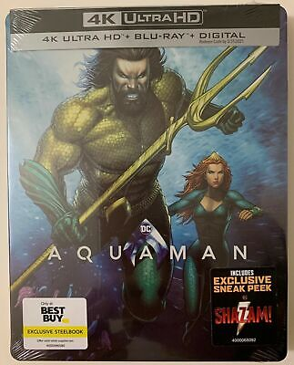 New Dc Aquaman 4K Ultra Hd Blu Ray Digital 2 Disc Best Buy Exclusive Steelbook
