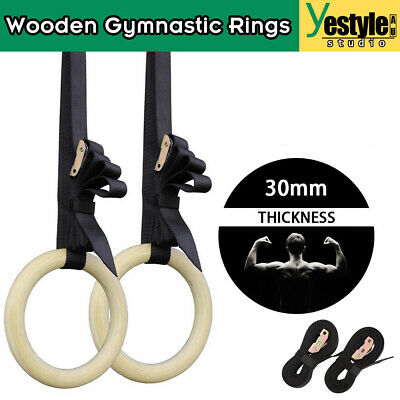 Wooden Gymnastic Rings Strength Training Olympic GYM Ring Sport Fitness Crossfit