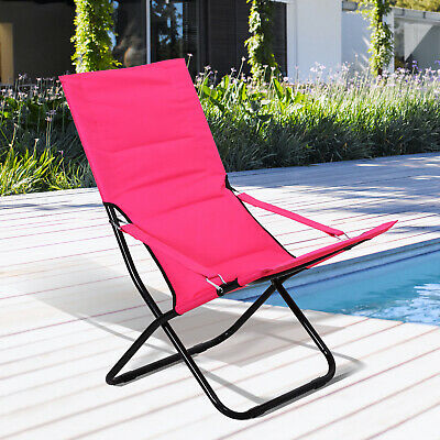 Outsunny Folding Camping Chair Beach Festival Outdoor Travel Padded Seat Pink