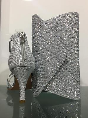9d5fed2da6f LADIES Womens HEEL STRAPPY DIAMANTE SPARKLE PARTY SANDAL WITH MATCHING BAG  SET