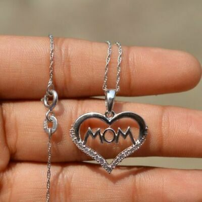 1/5 Ct Diamond Mom Love Heart Pendant Necklace 14K Gold Over Mothers Day Gift