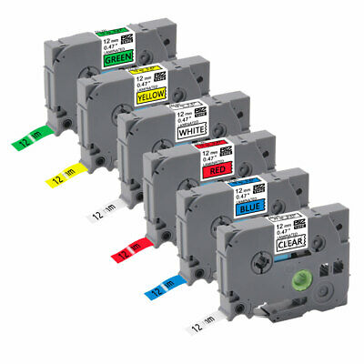 """6PK TZe131-731 0.47""""12mm Multicolor Label Tape Compatible Brother P-Touch PTD600"""