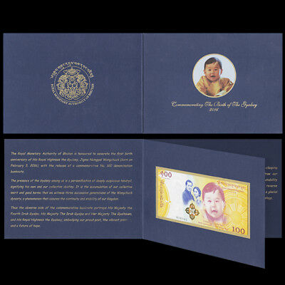 Bhutan 100 Ngultrum, 2016(2018), Royal Baby, COMM. P-NEW, With Folder, UNC
