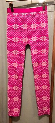 Dream Star Bright Pink Leggings With White Snowflakes Girls Size 7-16 EUC