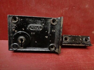 1 Vintage Small Yale Cast Iron Rim Lock Deadbolt More Avail