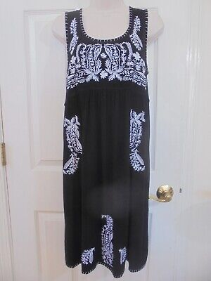 555e311e77e Chelsea   Theodore Black and White Embroidered Peasant Casual Dress Sz Small