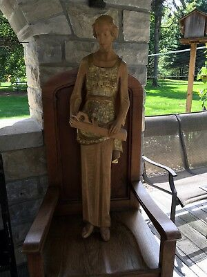 """LARGE HAND CARVED WOOD SAINT JOSEPH SCULPTURE SIGNED ITALY CHRISTIAN 47"""" Tall"""