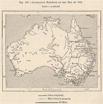 Australian Railways at the End of 1887 1885 old antique vintage map plan chart