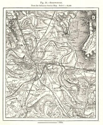 Shrewsbury from the Ordnance Survey Map. Shropshire. Sketch map 1885 old