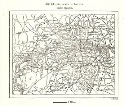 Railways of London. Underground tube. Sketch map 1885 old antique chart