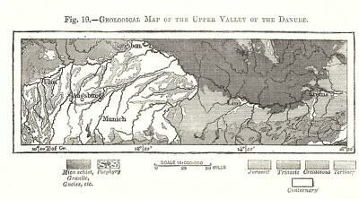 Geological Map of the Upper Valley of the Danube. Austria. Sketch map 1885