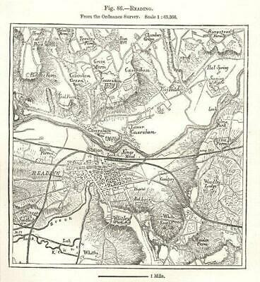 Reading town plan from the Ordnance Survey. Berkshire. Sketch map 1885 old