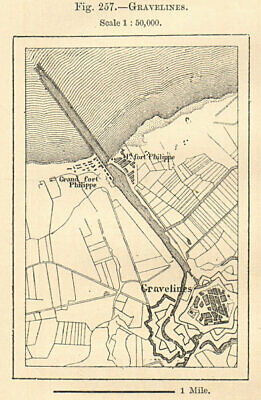 Gravelines plan & environs. Nord. Sketch map. SMALL 1885 old antique chart