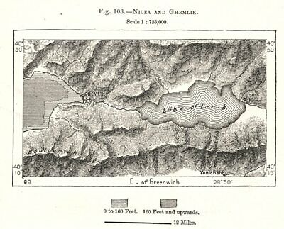 Nicaea & Gemlik. Turkey. Sketch map 1885 old antique vintage plan chart