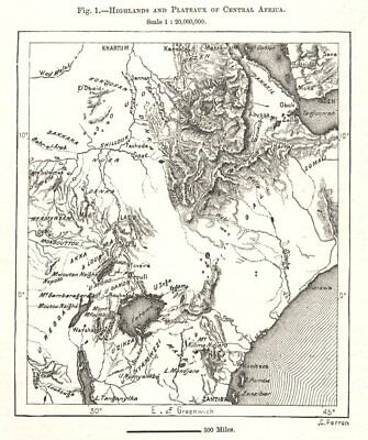 Highlands and Plateaux of Central & East Africa. Sketch map 1885 old