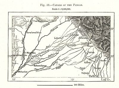 Canals of the Punjab. Multan. Pakistan India. Sketch map 1885 old antique